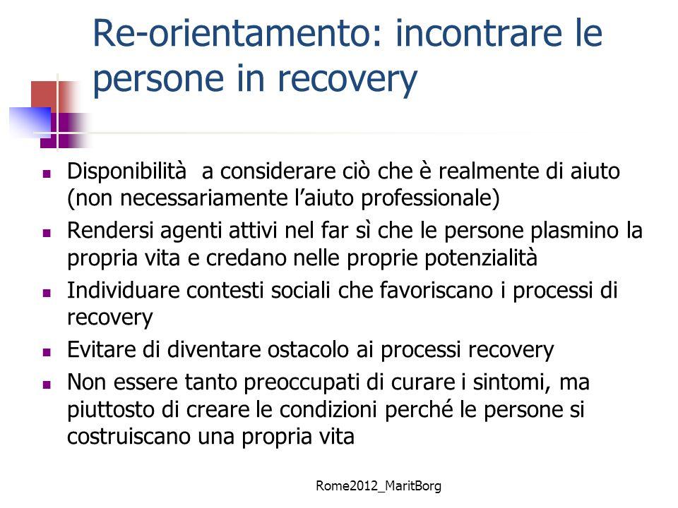 Re-orientamento: incontrare le persone in recovery