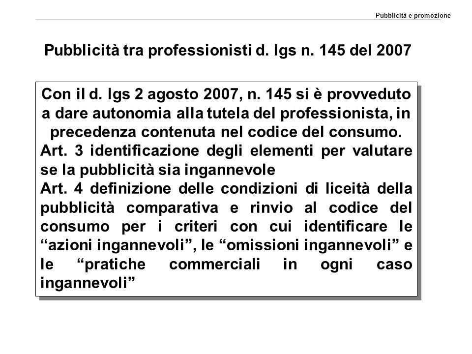 Pubblicità tra professionisti d. lgs n. 145 del 2007