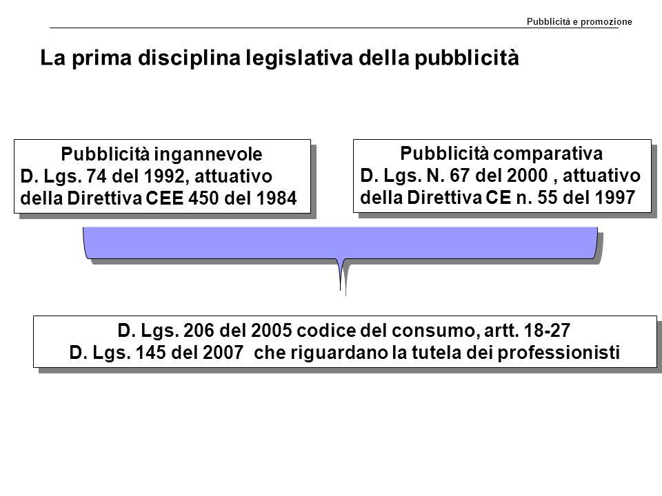La prima disciplina legislativa della pubblicità