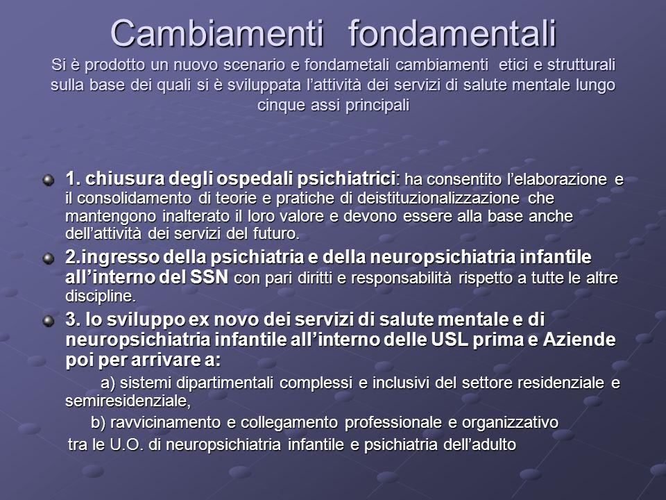 Cambiamenti fondamentali Si è prodotto un nuovo scenario e fondametali cambiamenti etici e strutturali sulla base dei quali si è sviluppata l'attività dei servizi di salute mentale lungo cinque assi principali
