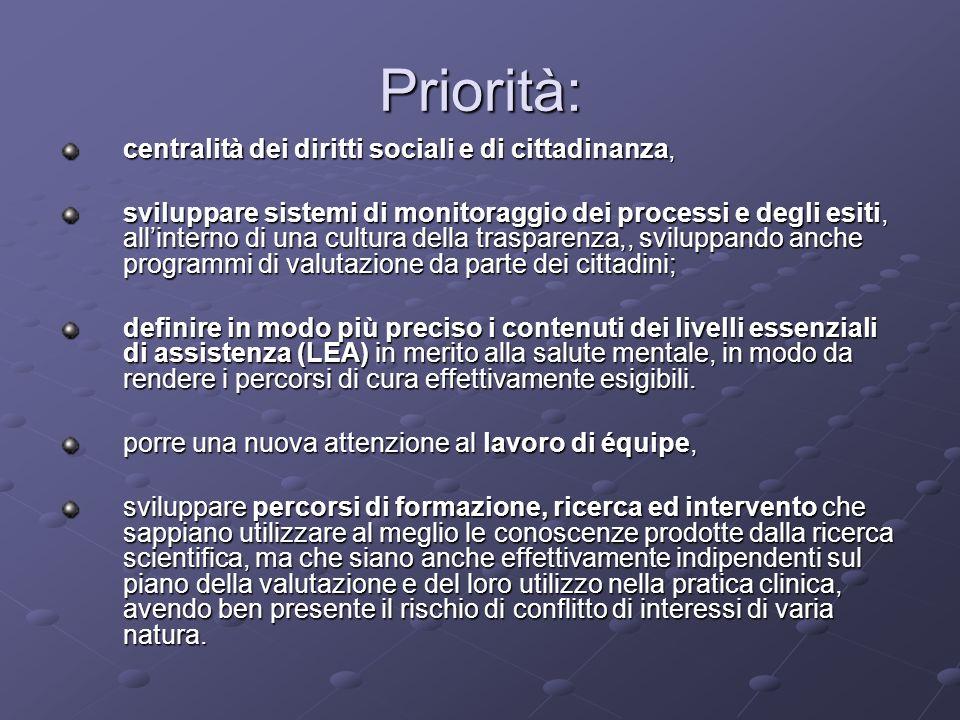Priorità: centralità dei diritti sociali e di cittadinanza,