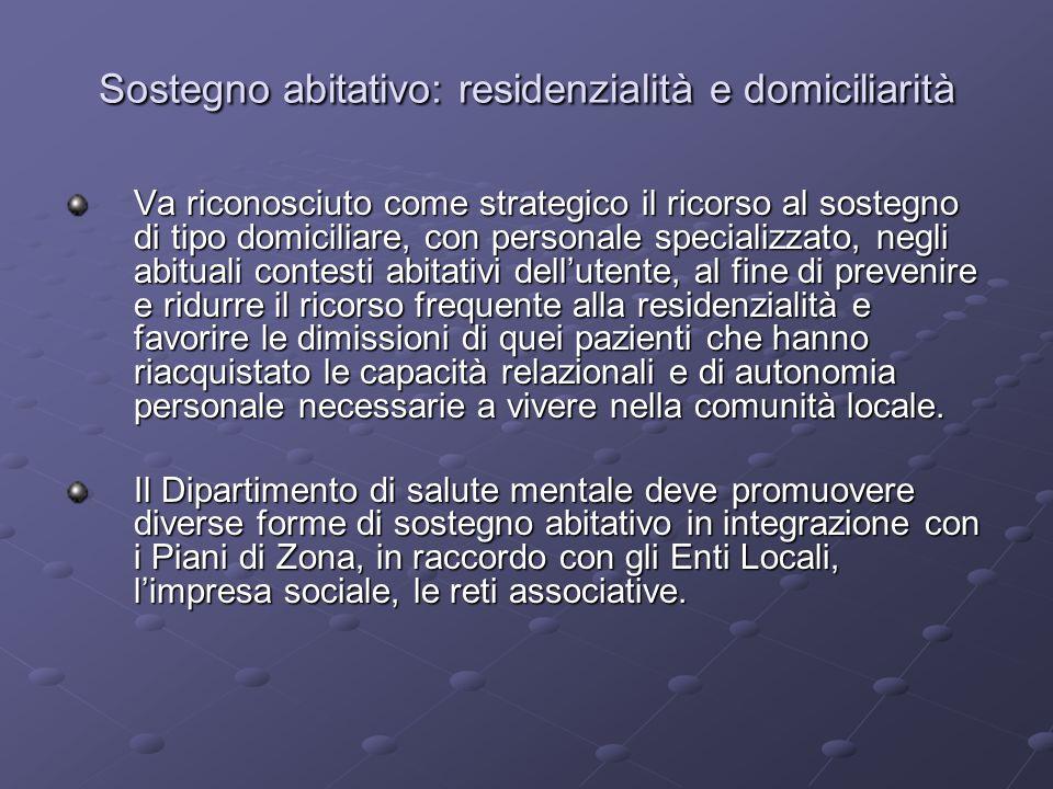 Sostegno abitativo: residenzialità e domiciliarità