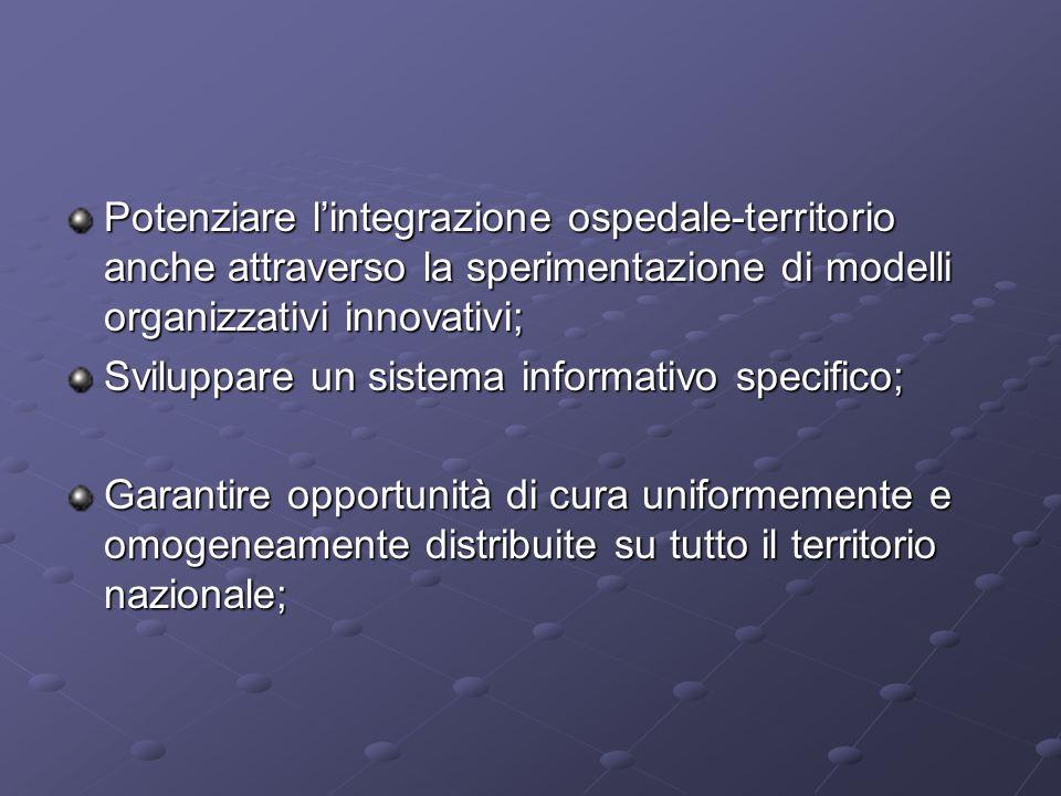 Potenziare l'integrazione ospedale-territorio anche attraverso la sperimentazione di modelli organizzativi innovativi;