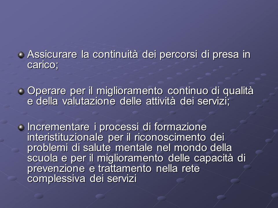 Assicurare la continuità dei percorsi di presa in carico;