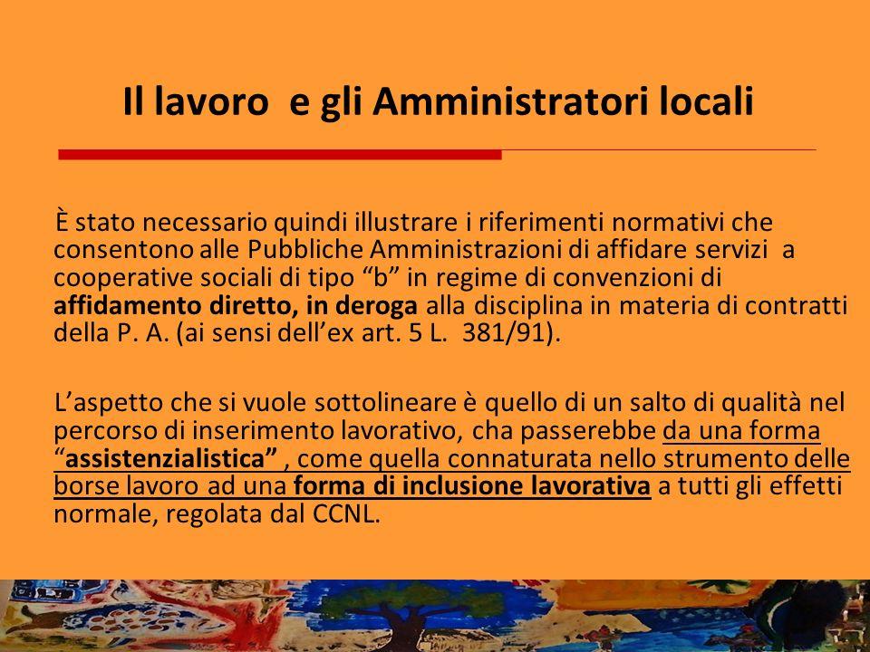 Il lavoro e gli Amministratori locali