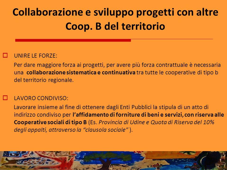 Collaborazione e sviluppo progetti con altre Coop. B del territorio