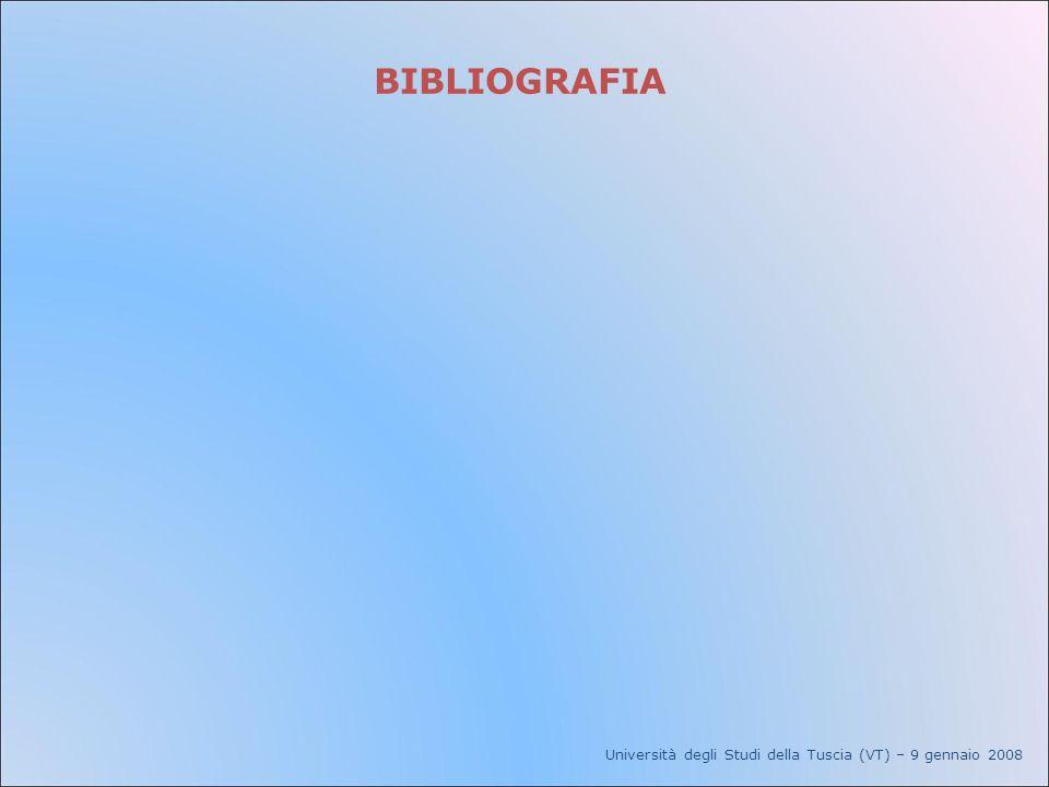 BIBLIOGRAFIA Università degli Studi della Tuscia (VT) – 9 gennaio 2008