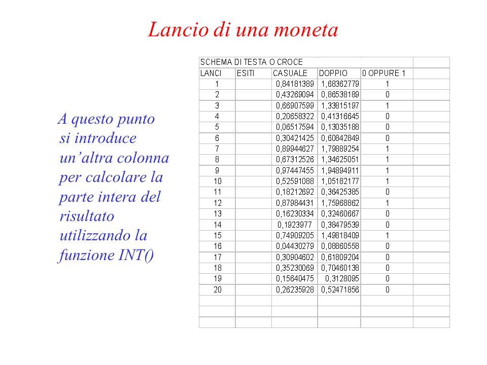 Lancio di una moneta A questo punto si introduce un'altra colonna per calcolare la parte intera del risultato utilizzando la funzione INT()