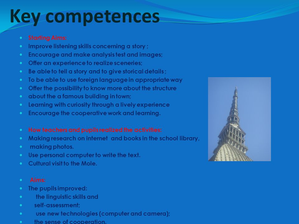 Key competences Starting Aims:
