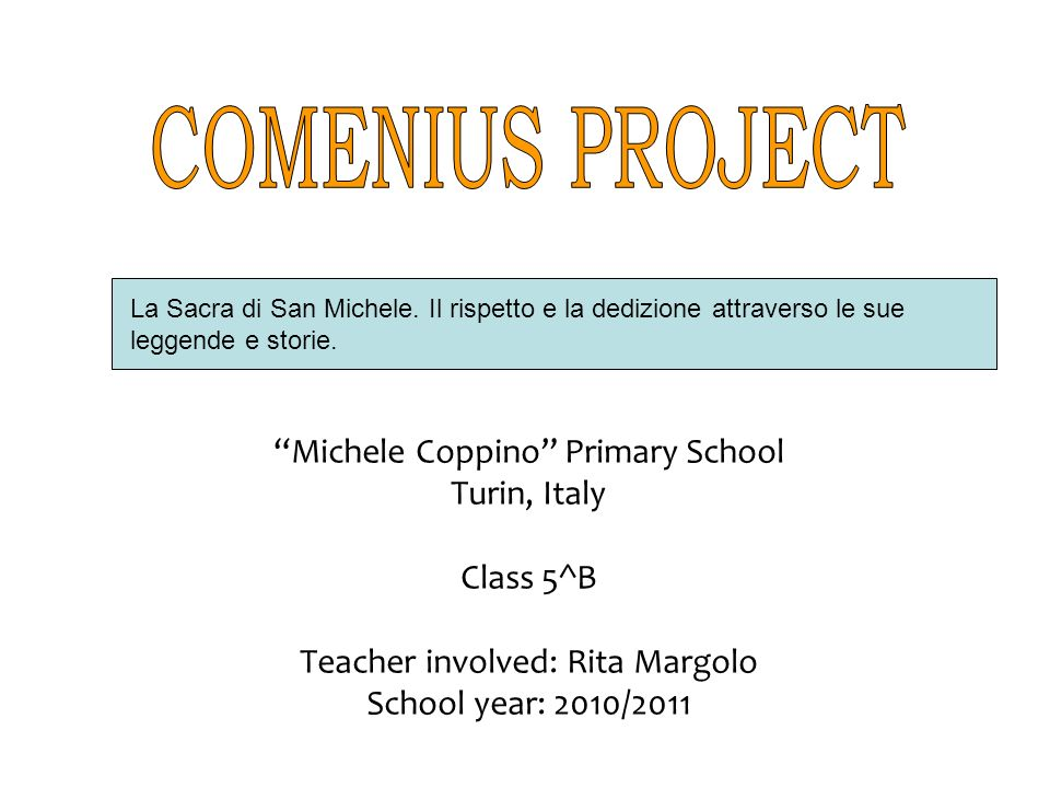 COMENIUS PROJECT Michele Coppino Primary School Turin, Italy