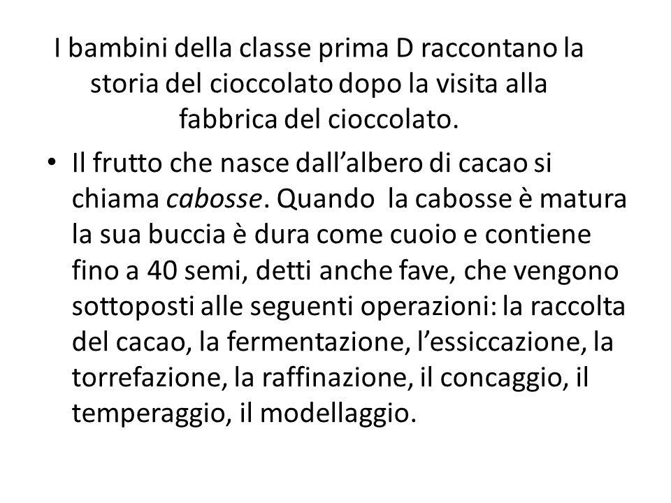 I bambini della classe prima D raccontano la storia del cioccolato dopo la visita alla fabbrica del cioccolato.