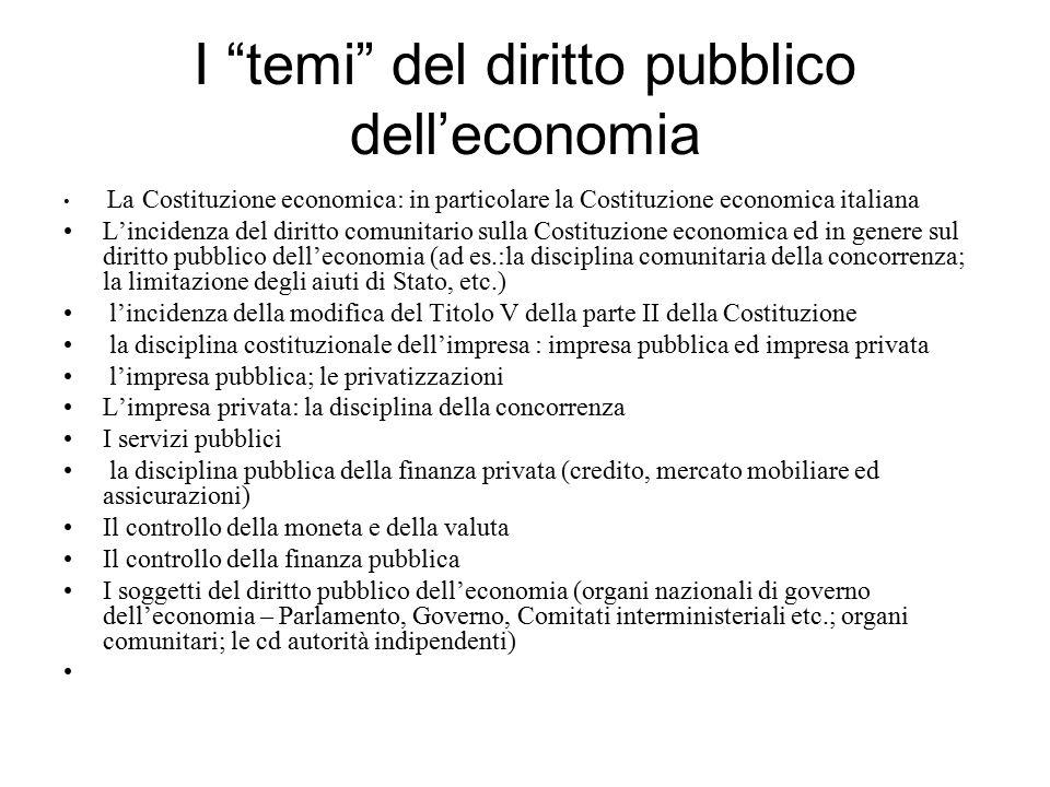 I temi del diritto pubblico dell'economia