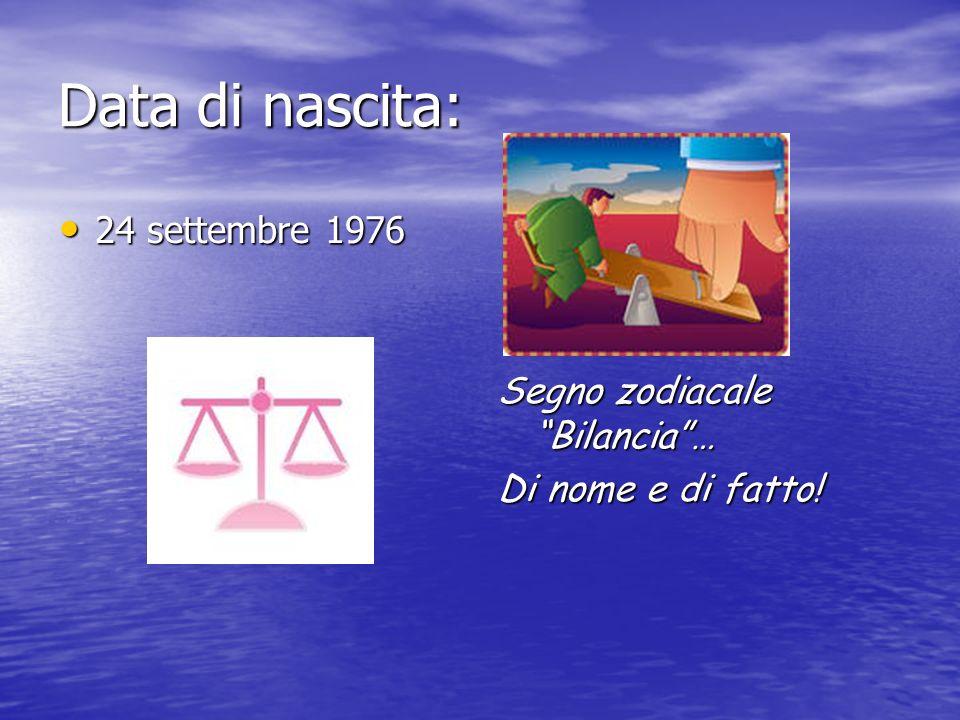 Data di nascita: 24 settembre 1976 Segno zodiacale Bilancia …