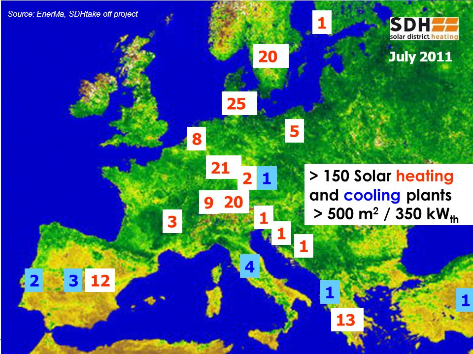 > 150 Solar heating and cooling plants > 500 m2 / 350 kWth