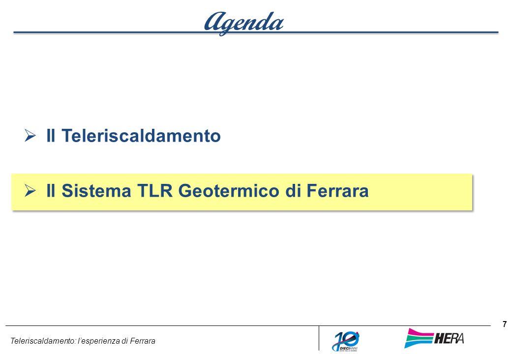 Agenda Il Teleriscaldamento Il Sistema TLR Geotermico di Ferrara