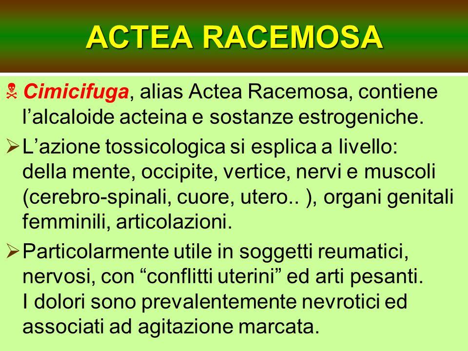ACTEA RACEMOSACimicifuga, alias Actea Racemosa, contiene l'alcaloide acteina e sostanze estrogeniche.