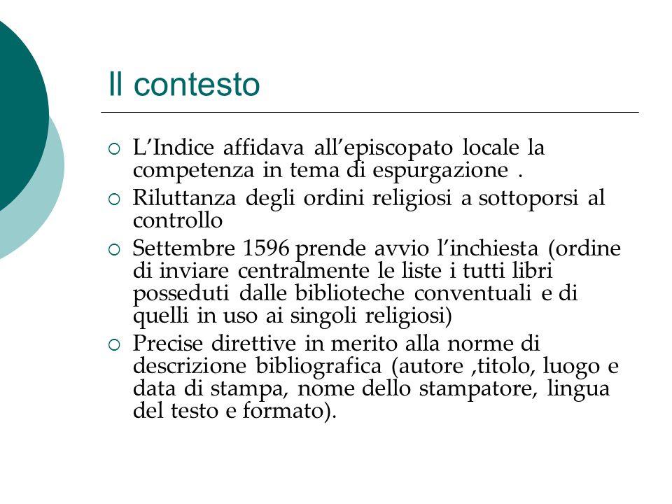Il contesto L'Indice affidava all'episcopato locale la competenza in tema di espurgazione .