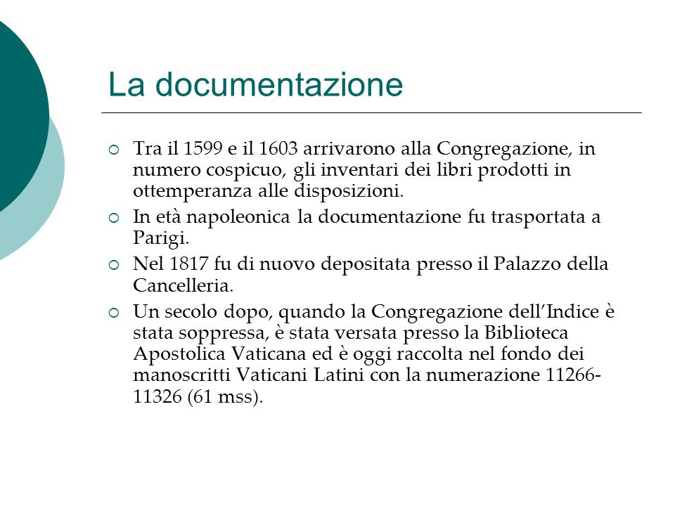 La documentazione