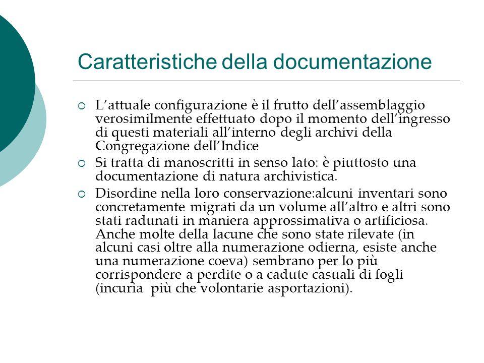 Caratteristiche della documentazione
