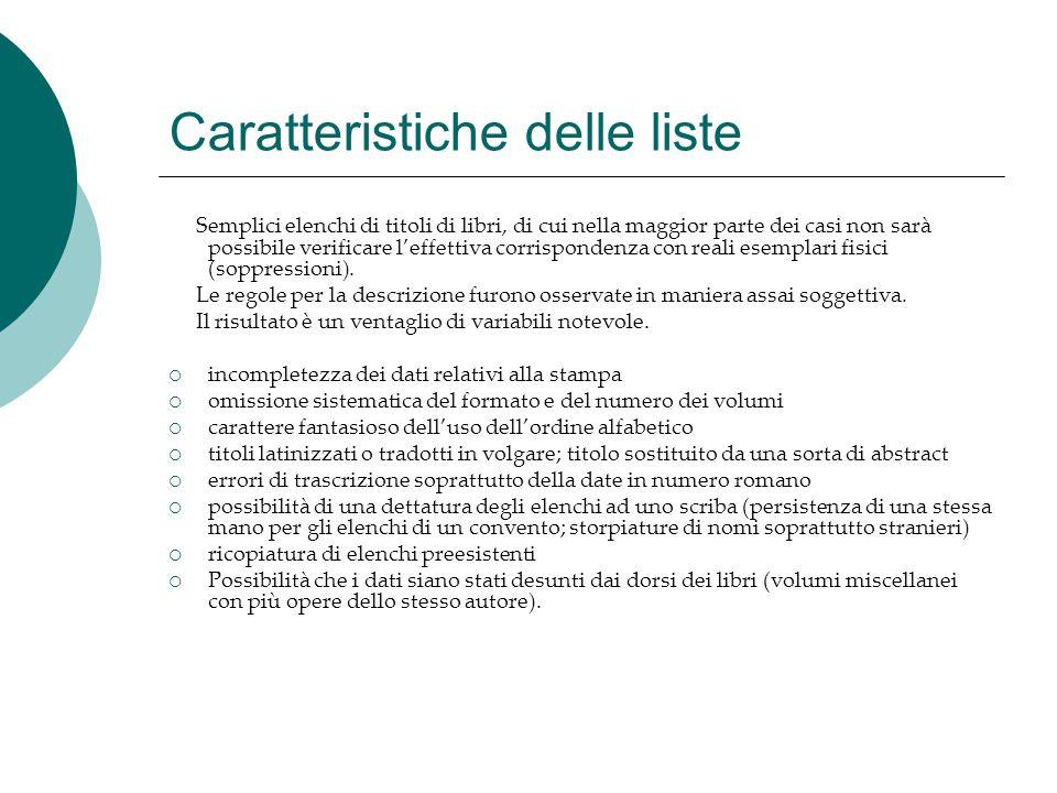 Caratteristiche delle liste