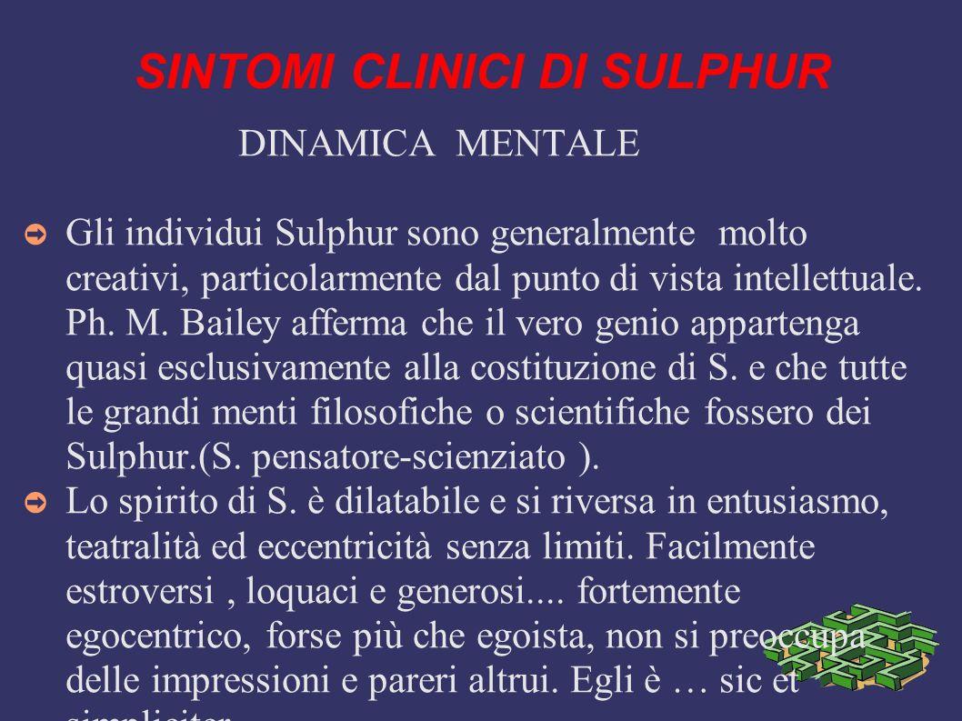 SINTOMI CLINICI DI SULPHUR