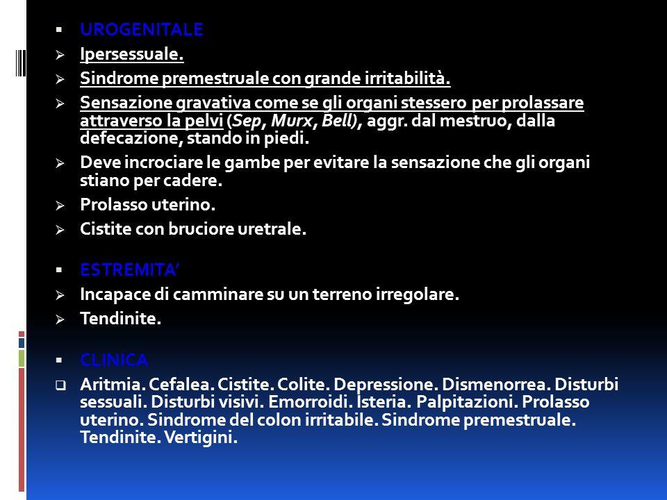 UROGENITALE Ipersessuale. Sindrome premestruale con grande irritabilità.