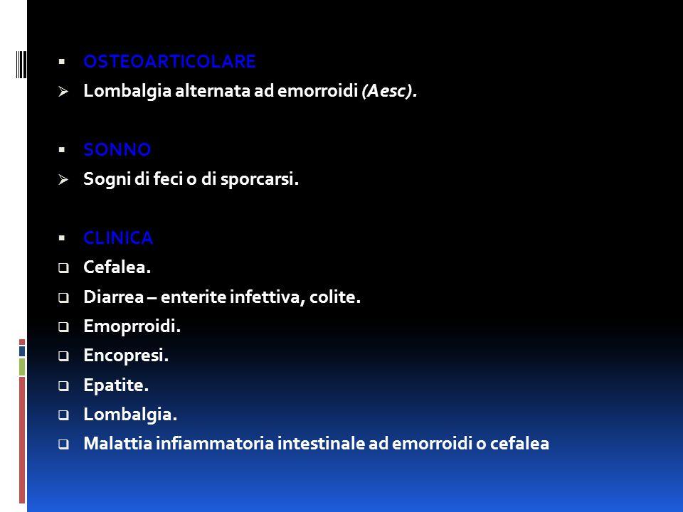 OSTEOARTICOLARE Lombalgia alternata ad emorroidi (Aesc). SONNO. Sogni di feci o di sporcarsi. CLINICA.