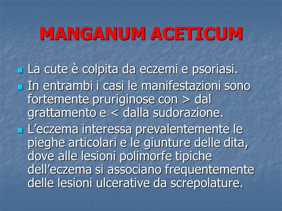 MANGANUM ACETICUM La cute è colpita da eczemi e psoriasi.