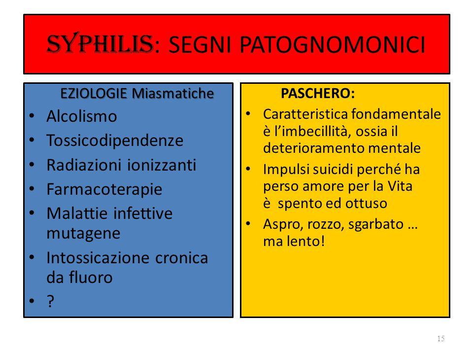 SYPHILIS: SEGNI PATOGNOMONICI