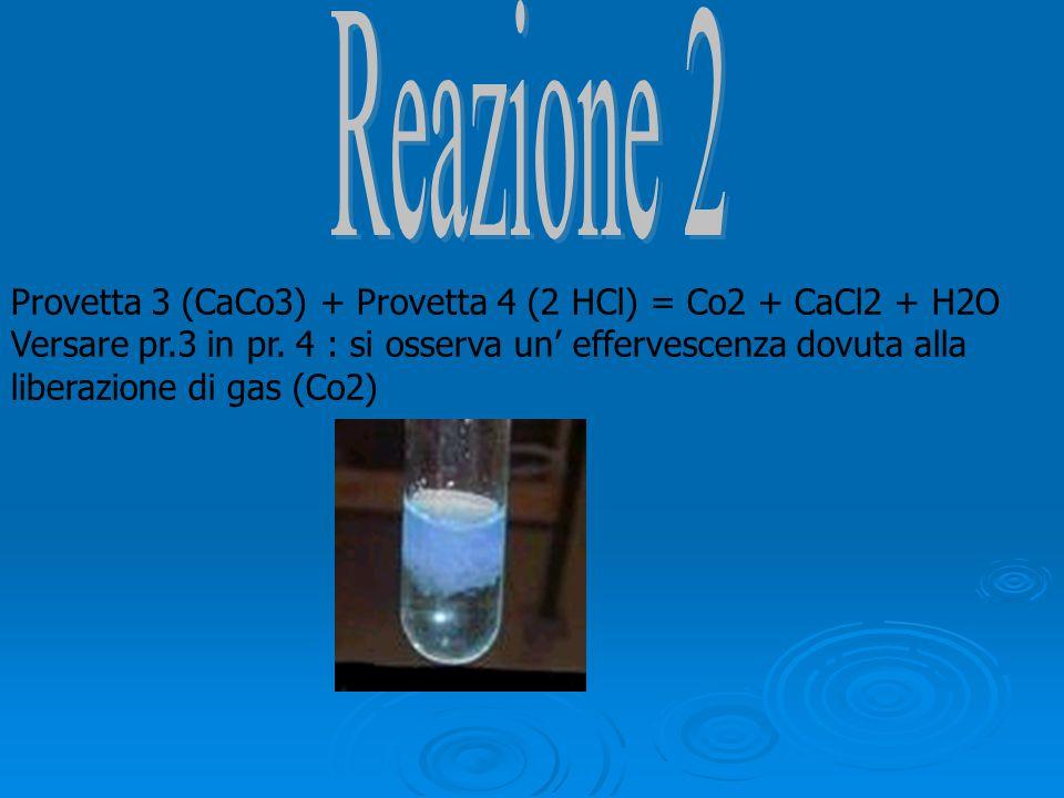 Provetta 3 (CaCo3) + Provetta 4 (2 HCl) = Co2 + CaCl2 + H2O