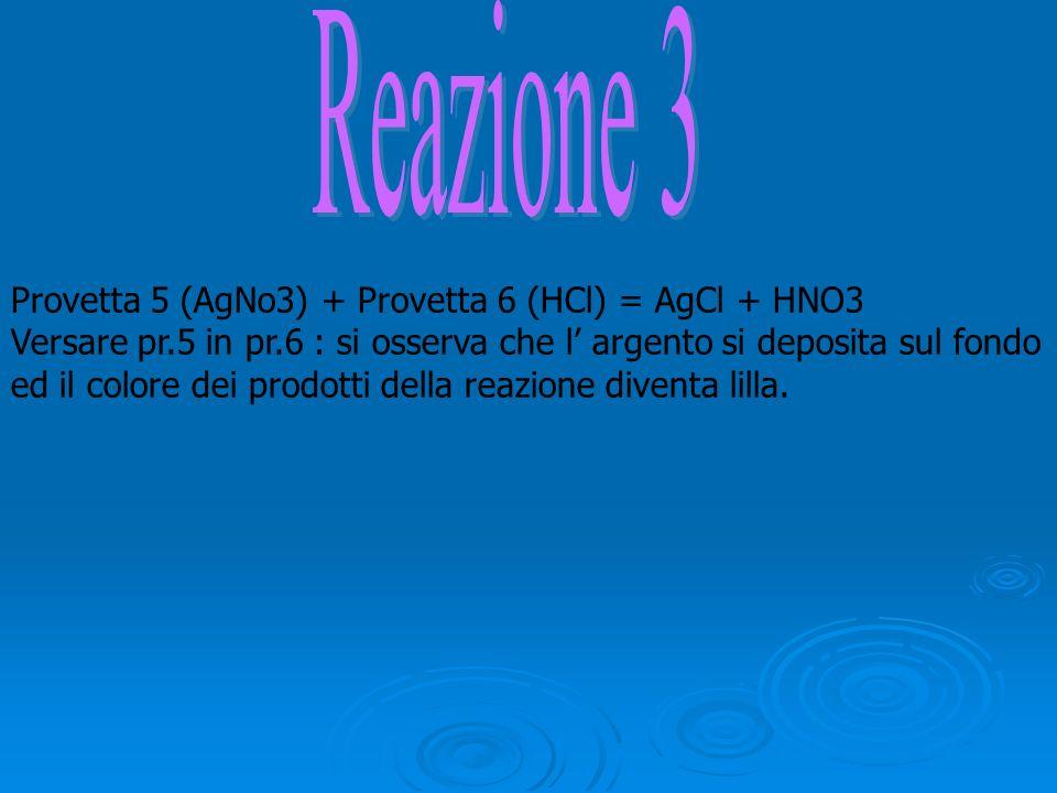Provetta 5 (AgNo3) + Provetta 6 (HCl) = AgCl + HNO3