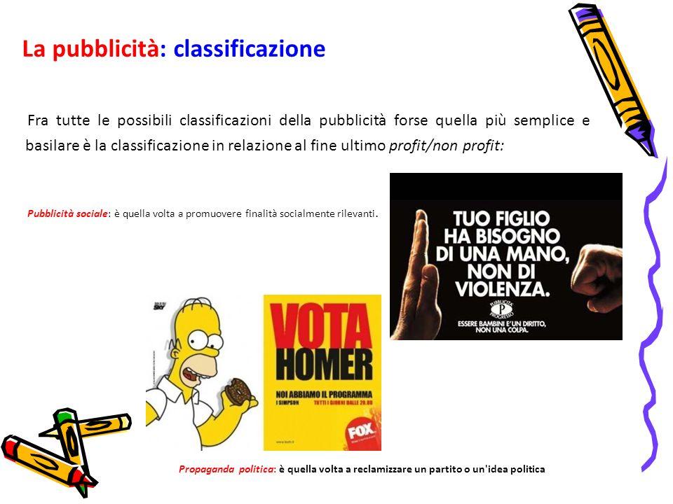 La pubblicità: classificazione