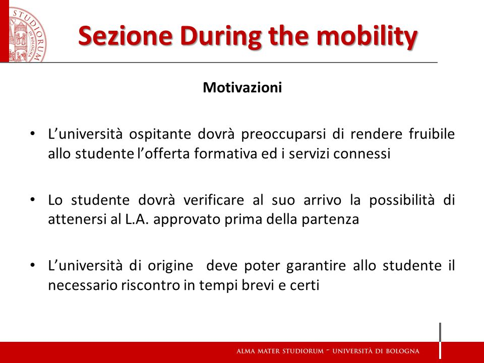 Sezione During the mobility