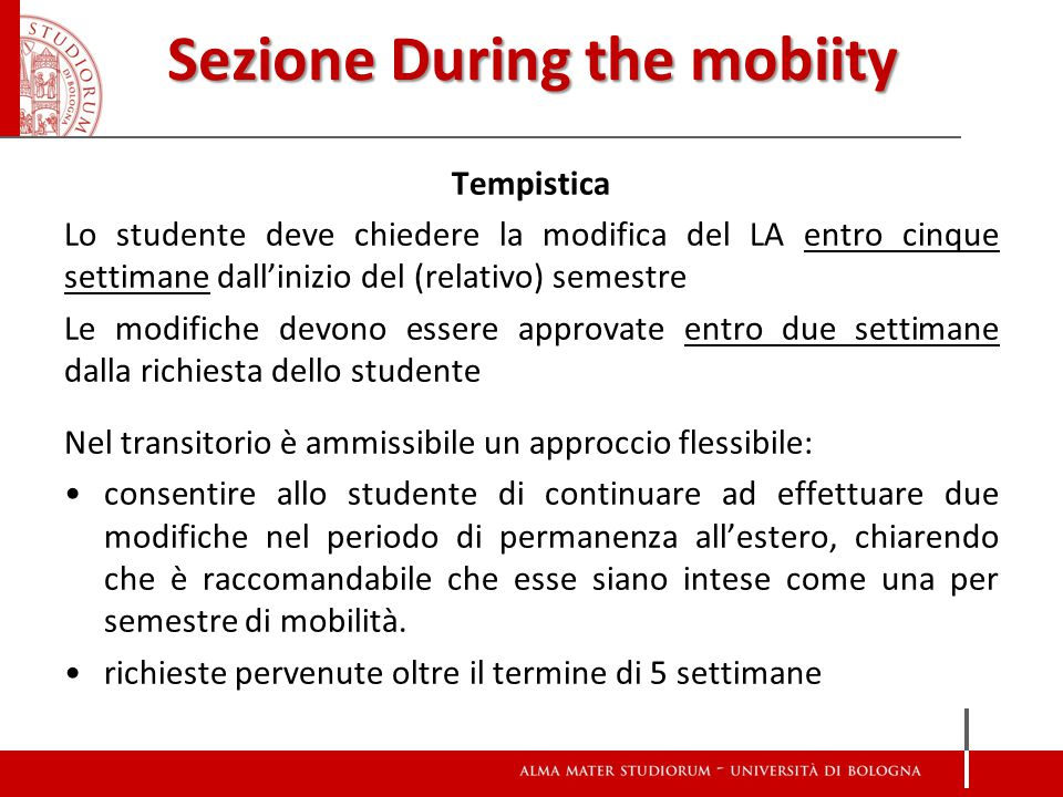 Sezione During the mobiity