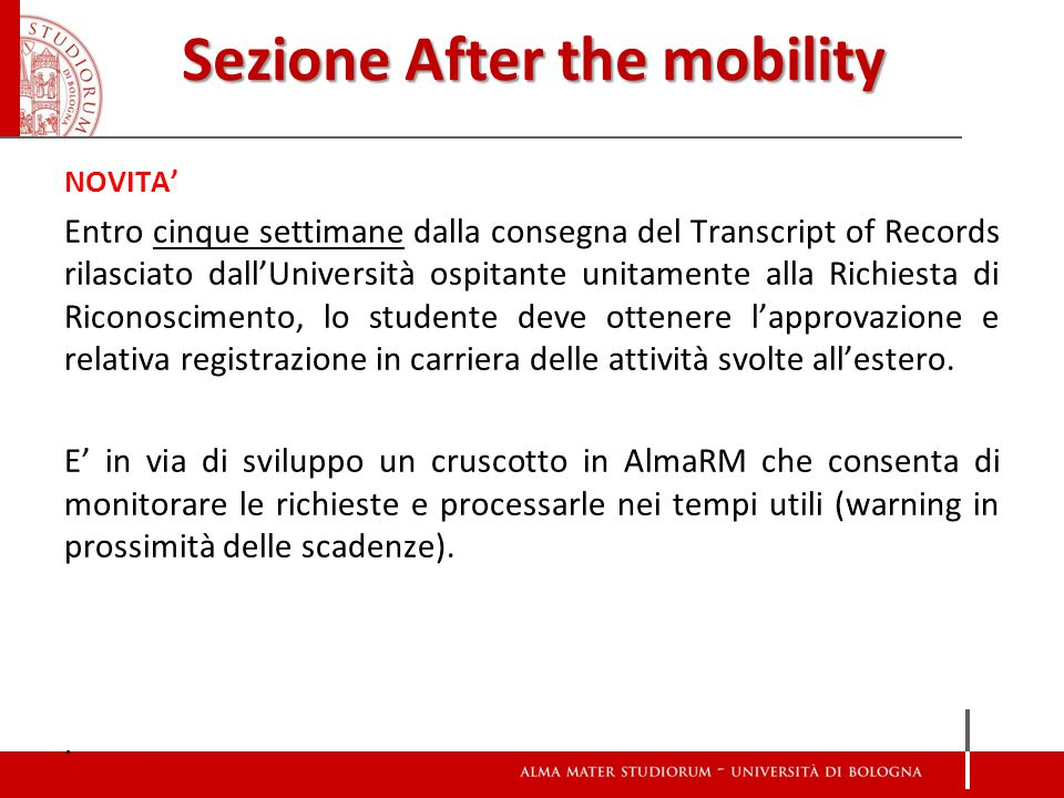 Sezione After the mobility