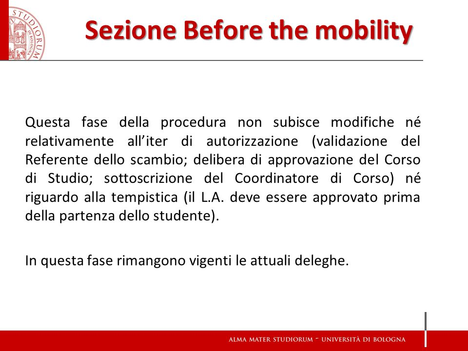 Sezione Before the mobility