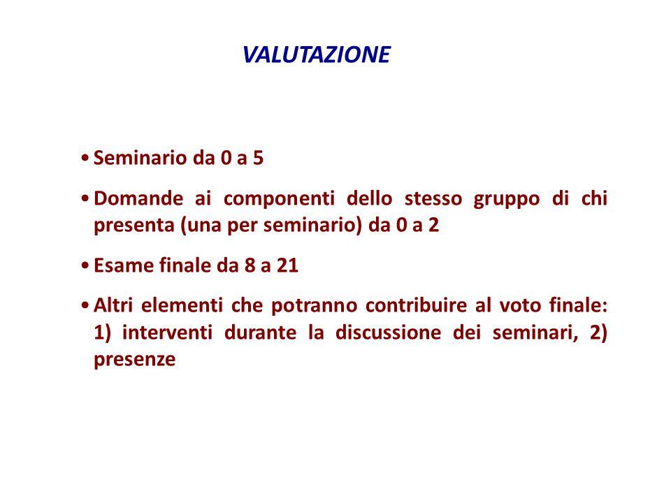 VALUTAZIONE Seminario da 0 a 5