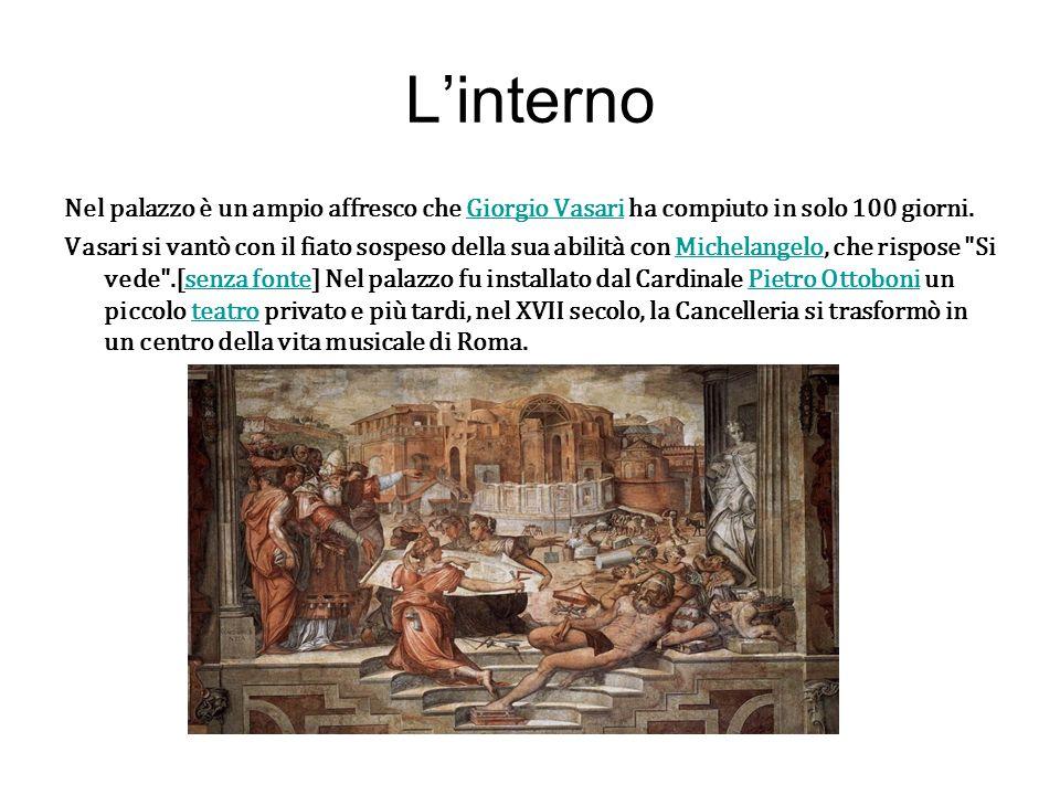 L'interno Nel palazzo è un ampio affresco che Giorgio Vasari ha compiuto in solo 100 giorni.