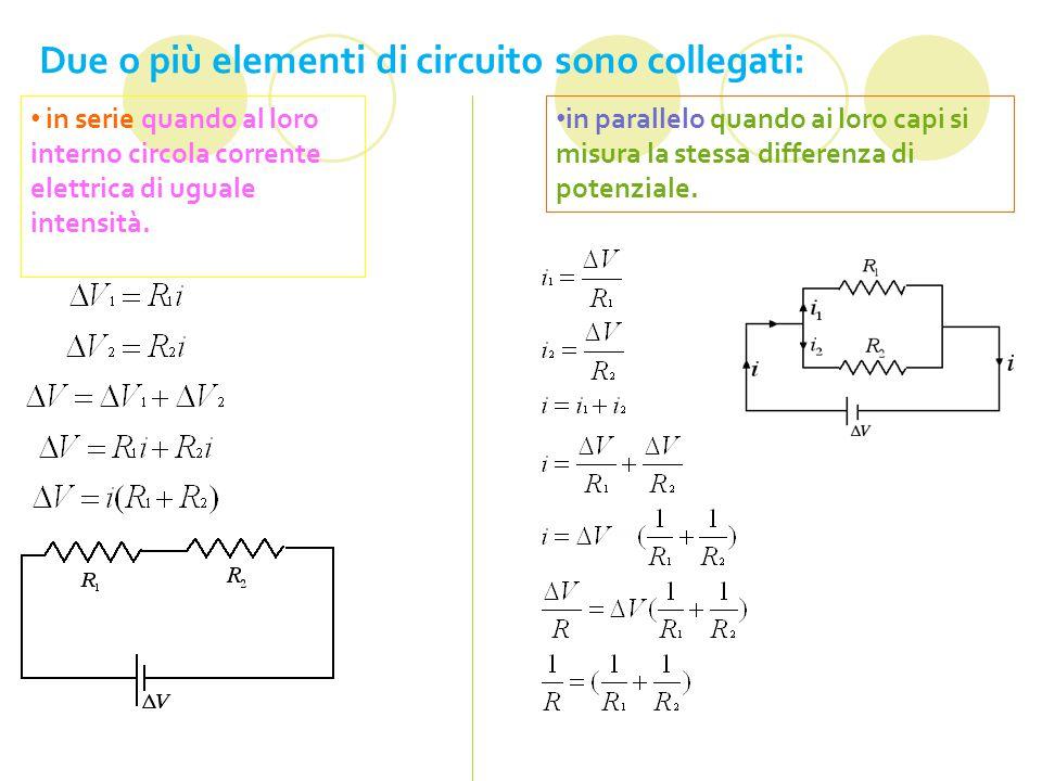 Due o più elementi di circuito sono collegati: