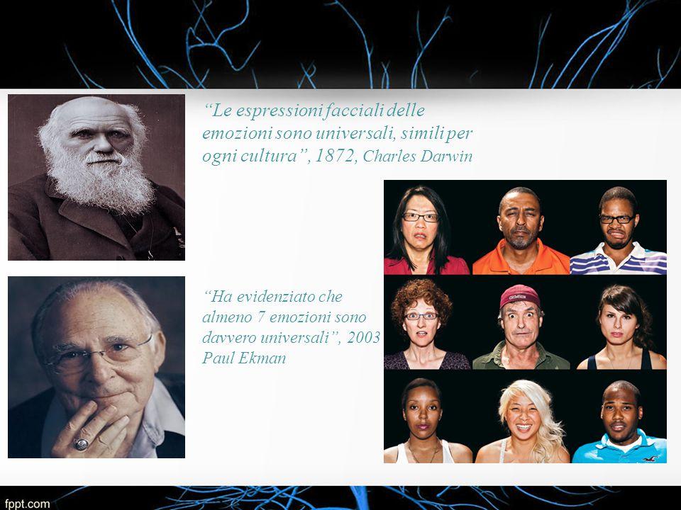Le espressioni facciali delle emozioni sono universali, simili per ogni cultura , 1872, Charles Darwin
