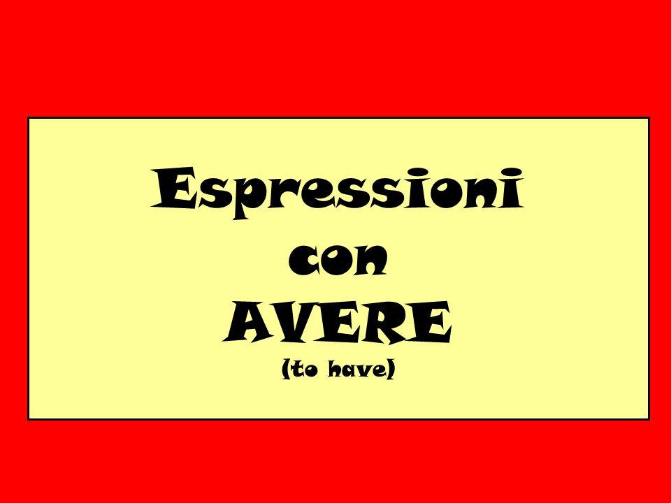 Espressioni con AVERE (to have)