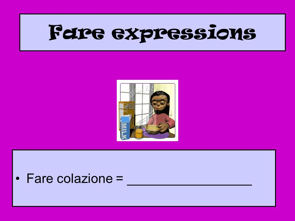 Fare expressions Fare colazione = _________________