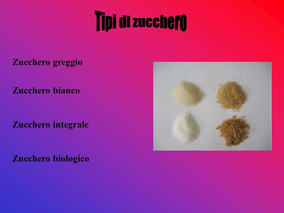 Tipi di zucchero Zucchero greggio Zucchero bianco Zucchero integrale