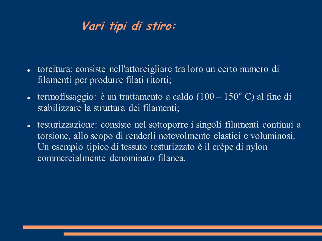 Vari tipi di stiro: torcitura: consiste nell attorcigliare tra loro un certo numero di filamenti per produrre filati ritorti;