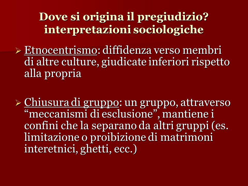 Dove si origina il pregiudizio interpretazioni sociologiche