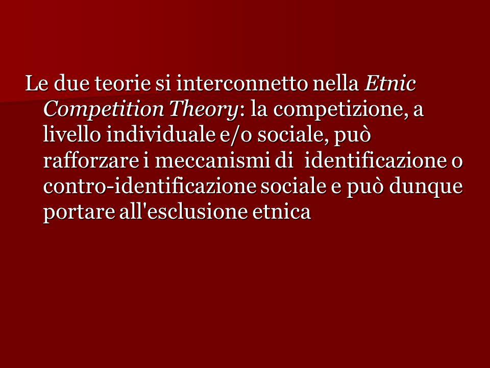 Le due teorie si interconnetto nella Etnic Competition Theory: la competizione, a livello individuale e/o sociale, può rafforzare i meccanismi di identificazione o contro-identificazione sociale e può dunque portare all esclusione etnica