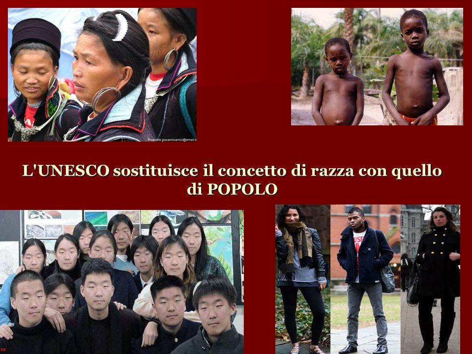 L UNESCO sostituisce il concetto di razza con quello di POPOLO
