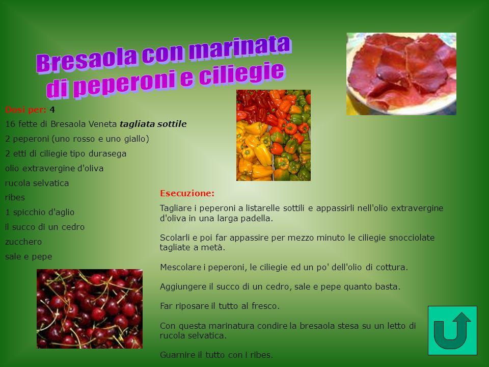 Bresaola con marinata di peperoni e ciliegie Dosi per: 4
