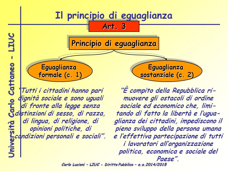 Il principio di eguaglianza Principio di eguaglianza