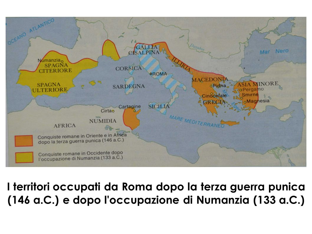 I territori occupati da Roma dopo la terza guerra punica (146 a. C